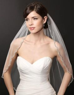 2015 White/Ivory Wedding Veils Fingertip Veil With Beads And Sequins Veils For Bridal With Comb from Forever_love_u,$10.48 | DHgate.com