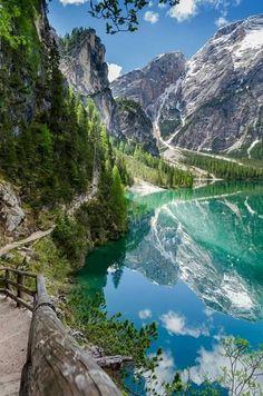 Lake Braies, Trentino Alto Adige, Italy.