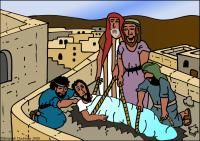 Jesus Heals The Paralytic Man Flip Chart School Fun, Sunday School, Jesus Heals Paralyzed Man, Story Sack, Bible Stories For Kids, Bible Resources, Through The Roof, Bible Lessons, Coloring Sheets