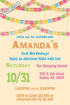 Papel Picado Birthday Invitations Fiesta Bunting Birthday Invitations - Get these invitations RIGHT NOW. Design yourself online, download and print IMMEDIATELY! Or choose my printing services. No software download is required. Free to try!