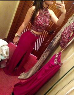 2016 Custom Charming Rosy Beading Two Pieces Prom Dress,Sexy Sleeveless Strapless Evening Dress,Sexy Halter Prom Dress
