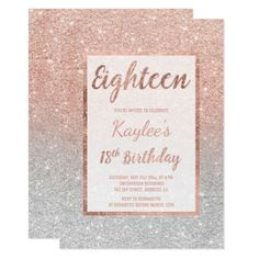 Faux rose gold glitter silver chic 18th Birthday Card - birthday cards invitations party diy personalize customize celebration