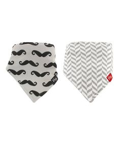Look at this #zulilyfind! Gray & White Mustache Bandanna Bib - Set of Two #zulilyfinds