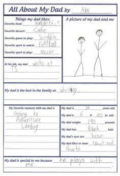 A written snapshot! This is a hit in my classroom every year! I do it for Mother's and Father's day. I ask the children some questions about their parent and record their answer word for word! I especially love their answers to how old their parent is!