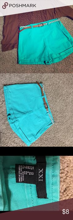 💍Teal High Rise Belted Shorts! Like new only worn once amazing color, no flaws. Thick Stretch material amazing quality! Forever 21 Shorts