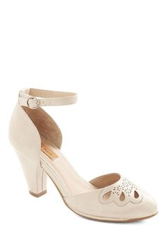 Petal to the Plaza Heel in Beige by Miz Mooz - Cream, Solid, Cutout, Wedding, Party, Holiday Party, Bridesmaid, Bride, Mid, Leather, Vintage...