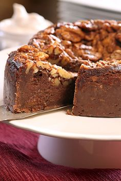 Walnut Turtle Pie - chocolate crust with an almost lava cake center and walnuts that rise to the top