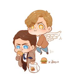 Cute Cas and Jack ❤️❤️❤️❤️ Castiel, Supernatural Drawings, Supernatural Fan Art, Good Buddy, Illustrations, Superwholock, Chibi, Cartoon, Cute