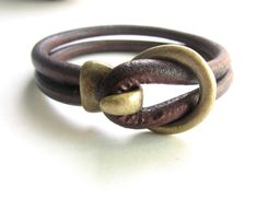 Unisex Brown and Brass Leather Bracelet with Circle and Loop Clasp Men's Gift, For Him Manly Men's Jewelry