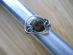 Bronzite Bead Ring Wrapped in Oxidized Sterling by OurFrontYard, $29.77