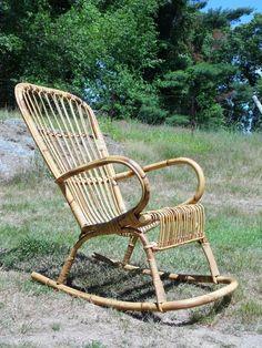 Vintage Mid Century Modern Bamboo Bent Wood Rattan Rocking Chair Rocker Albini
