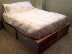 Bed platform = four boxes for underbed storage & easy moving