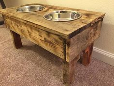 Elevated Dog Bowl Stand reclaimed pallet wood pet food #ad #pallet #palletproject #palletfurniture #palletwood #woodpallet #furniture