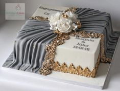 Engagement cake, still classy enough for any special occasion! Engagement cake, still classy enough for any special occasion! Unique Cakes, Elegant Cakes, Creative Cakes, Gorgeous Cakes, Pretty Cakes, Fondant Cakes, Cupcake Cakes, Cupcakes, Luxury Wedding Cake