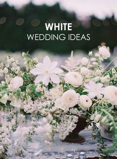 We love the symbolism behind a classic white wedding. So here are plenty of white wedding ideas to get you started on your blush or minimalist wedding! #creativeweddingideas #weddingthemes #whiteweddings