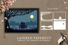 Paper Cutting Templates, Art Template, Flower Template, Layer Pictures, Paper Art, Paper Crafts, Shadow Box Art, Paper Cut Design, Monogram Fonts