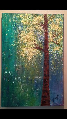 Gold leaf tree oil painting