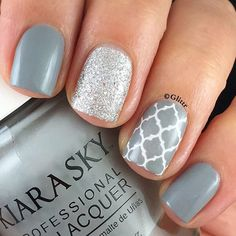 Loving this gorgeous gray!!  And I seriously need to get myself a back up of the #twinkledt Almaz stencils, I am running dangerously low!  ······························································· @kiaraskynails • Styletto @kiaraskynails • Pure White @opi_products • It's Frosty Outside @twinkled_t • Almaz stencils @serendipitypolish • Finishing Touch topcoat ·······························································