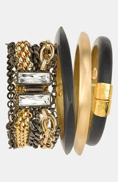 Alexis Bittar Mixed Chain Bracelet and Smooth Satin Finish Bangles…for that Bittersweet Look.