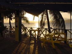 """Sunset over St. #Kitts as seen from the """"Old"""" Chevy's Beach Bar) #Nevis West Indies by Nevis1.com"""