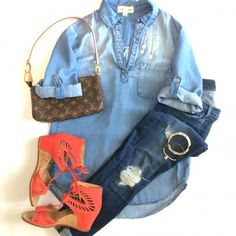 Coral Shoes = Love.  Chambray top, work jeans, silver bracelets. Shop this look http://www.shared.style/styles/jeans-casual/coral-shoes-love