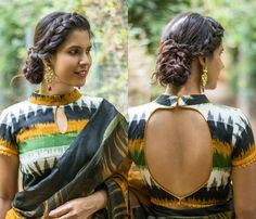Pretty Ikat Blouse Designs You Can Shop Now Looking for ikat blouse designs? Here are pretty latest models that can add a dose of style and elegance to all your saree look. Blouse Back Neck Designs, Best Blouse Designs, Simple Blouse Designs, Stylish Blouse Design, Kalamkari Blouse Designs, Choli Blouse Design, Cotton Saree Blouse Designs, Blouse Patterns, Collor