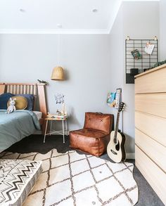 Tanner's big boy room 🙌🏻 I have busily been putting this room together in time for Tan's birthday. I am so happy to see the vision I… Plywood Furniture, Kids Furniture, Furniture Design, Toddler Rooms, Toddler Bed, Teenage Room, Teen Room Decor, Room Tour, Kids Bedroom