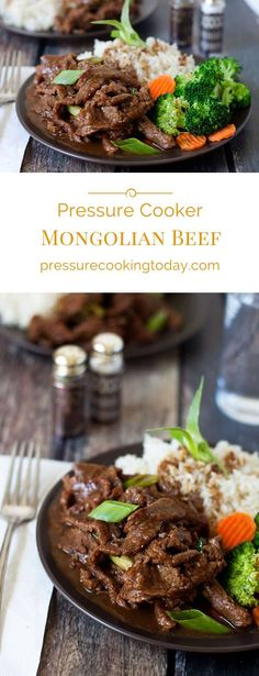 A pressure cooker version of PF Changs popular beef dish. This (Instant Pot) Pressure Cooker Mongolian Beef is made with flank steak thinly sliced then cooked in a lightly sweet, garlic ginger sauce until it's melt in your mouth tender.