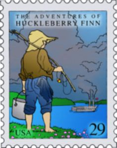 Colored Huckleberry Finn Stamp by kookiekween99 on @DeviantArt