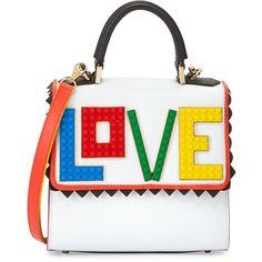 Les Petits Joueurs Alex Mini Rainbow Love Frame Bag ($1,065) ❤ liked on Polyvore featuring bags, handbags, shoulder bags, frame bag, flap purse, white shoulder bag, framed handbag and mini shoulder bag
