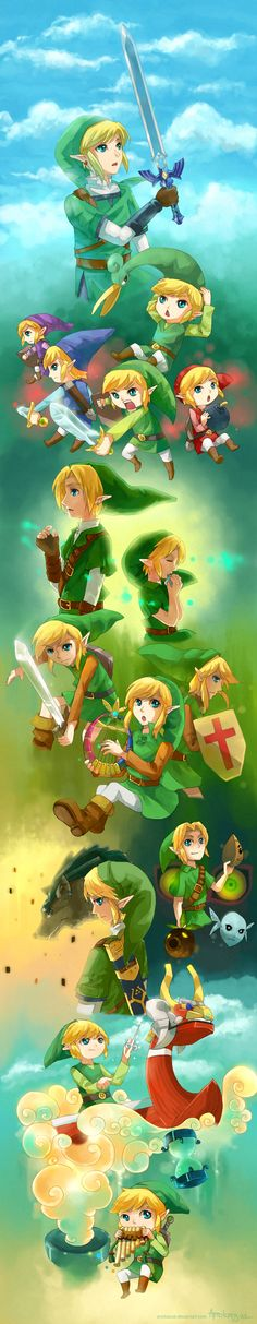 The Legend of Zelda, The Legend of Zelda: The Adventure of Link, A Link to the Past, Link's Awakening, Ocarina of Time, Majora's Mask, Oracle of Ages / Oracle of Seasons, Four Swords, The The Wind Waker, The Minish Cap, Twilight Princess, Phantom Hourglass, Spirit Tracks, and The Legend of Zelda: Skyward Sword / 25 years of Legend of Zelda by anokazue on deviantART