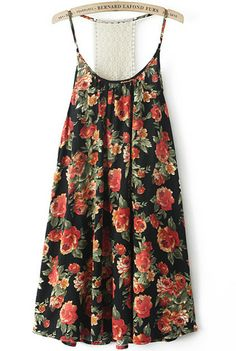 Black Spaghetti Strap Backless Floral Loose Dress pictures
