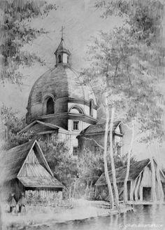 lullaby by Jokate on DeviantArt Landscape Pencil Drawings, Landscape Sketch, Pencil Art Drawings, Realistic Drawings, Colorful Drawings, Art Drawings Sketches, Landscape Art, City Drawing, Painting & Drawing
