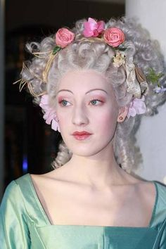 ~The Porcelain Doll look good stage makeup for rococo 18th Century Clothing, 18th Century Fashion, Marie Antoinette, Victorian Makeup, Baroque, Historical Hairstyles, Rococo Fashion, Boho Fashion, Makeup Designs
