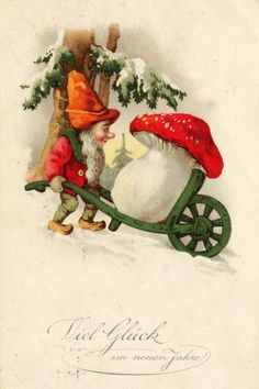 """Zwerg Postkarte 001 - Amanita muscaria, the most easily recognised """"toadstool"""", is frequently depicted in fairy stories and on greeting cards. It is often associated with gnomes. Vintage Christmas Cards, Christmas Images, Vintage Holiday, Vintage Cards, Vintage Postcards, Christmas Gnome, Christmas Art, Winter Christmas, Christmas Design"""