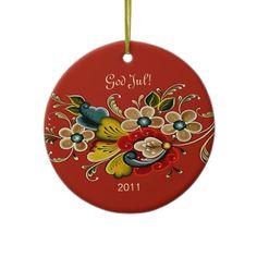 Norwegian Rosemaling Scandinavian Dated Christmas Ornament