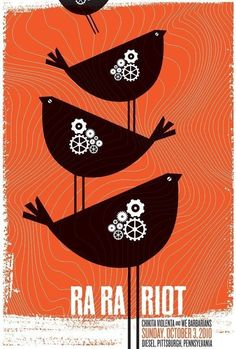 Ra Ra Riot, w/ Chikita Violenta & We Barbarians limited edition, silkscreen poster. Hand screen printed poster for Ra Ra Riot's show on October 2010 at Diesel, Pittsburgh, PA. Illustration Photo, Graphic Design Illustration, Graphic Art, Bear Graphic, Rock Posters, Band Posters, Screen Print Poster, Poster Prints, Gig Poster