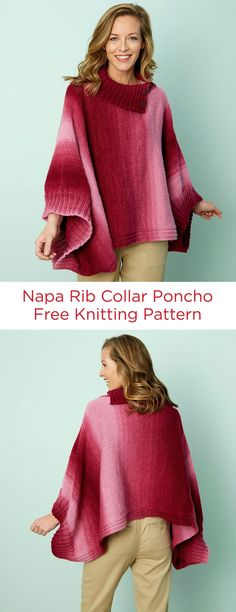 Napa Rib Collar Poncho Free Knitting Pattern in Red Heart Super Saver Ombré yarn -- The shaded yarn and easy-to-wear style will make this the knit poncho that you will rely on to keep you warm and looking great. Pattern is written in three sizes so it will fit small to 3X.