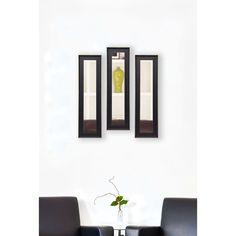 American Made Rayne Vintage Black Mirror Panel Set (Set of 4- 9.5 x 27.5), Black/Silver