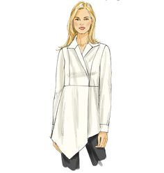 Tunic top idea - surplice front with princess seams, without cuffs and having a straight bottom hem.