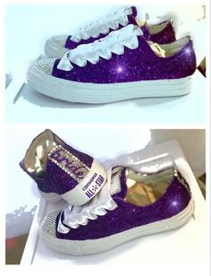 a1addce8968 Women s Purple Glitter Crystals Converse All Stars Wedding sneakers shoes