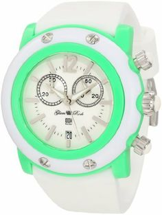 Glam Rock Women's GD1113WW Miami Beach Chronograph White Dial White Silicone Watch Glam Rock. $169.00. Water-resistant to 100 M (330 feet). Chronograph functions with 60 second, 30 minute subdials; date function. White dial with silver tone hands, hour markers and arabic numeral 12; luminous; bright green bezel; stainless steel crown and pushers with white cabochon. Swiss quartz movement. Mineral crystal sapphire coated; bright green resin case; white case cover wi...