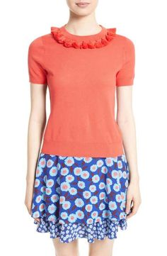 Three-quarter sleeves with ruffles kate spade new york tassel neck cotton & cashmere sweater