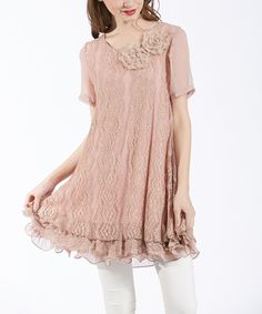 Loving this Simply Couture Mauve Lace Rose-Detail Swing Tunic on #zulily! #zulilyfinds