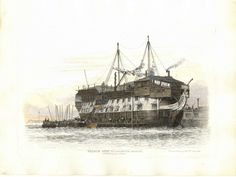 Transportation is the for the last day of February. This is the prison hulk York moored off Gosport Hampshire. My Great Uncles John & William Richardson were held here before being transported to Bermuda in Credit: National Maritime Museum London . Hulk, Portsmouth Harbour, First Fleet, Botany Bay, Ship Of The Line, Ship Drawing, Prisoners Of War, Maritime Museum, Nautical Art