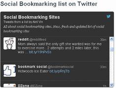 Twitter #List of 70 #SocialBookmarking Related Accounts on Twitter. #SEO #Bookmarking Blog