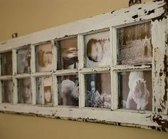 An old window panel turned into a rustic, vintage looking picture frame
