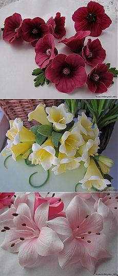 Лепка. Шикарные цветы из сахарной мастики.