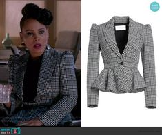 Tegan's gray plaid peplum jacket on How to Get Away with Murder Business Dress Code, Business Dresses, Business Outfits, Business Clothes, Peplum Jacket, Gray Jacket, Red Dress Accessories, Other Outfits, Work Outfits
