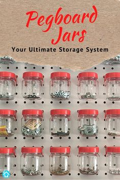 Our best-selling product, Pegboard Jars, is back in stock. Start organizing and transform your working area with our pegboard jars. Pegboard Organization, Working Area, Jar, Layout, Storage, Things To Sell, Purse Storage, Page Layout, Store